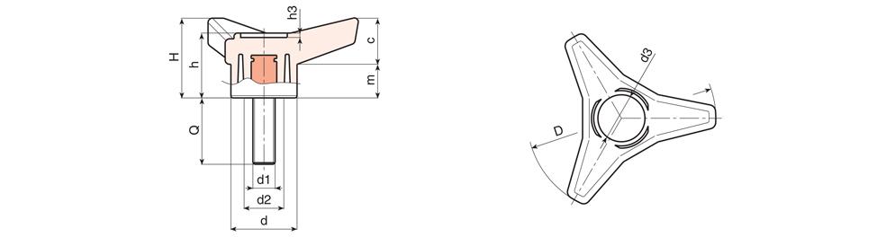 Pokrętło trójramienne z trzpieniem gwintowanym - Rysunek techniczny
